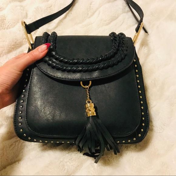 Handbags - Black leather studded tassel adjustable crossbody